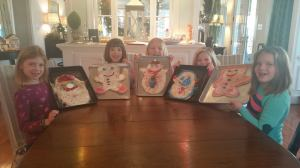 When Mommy's away, the girls will....make giant Christmas cookies.   Thanks Mrs. Cole!!
